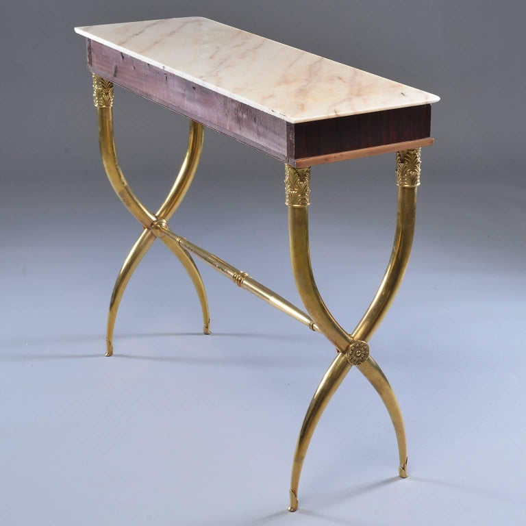 20th Century Italian Brass and Marble Neoclassical Style Console For Sale