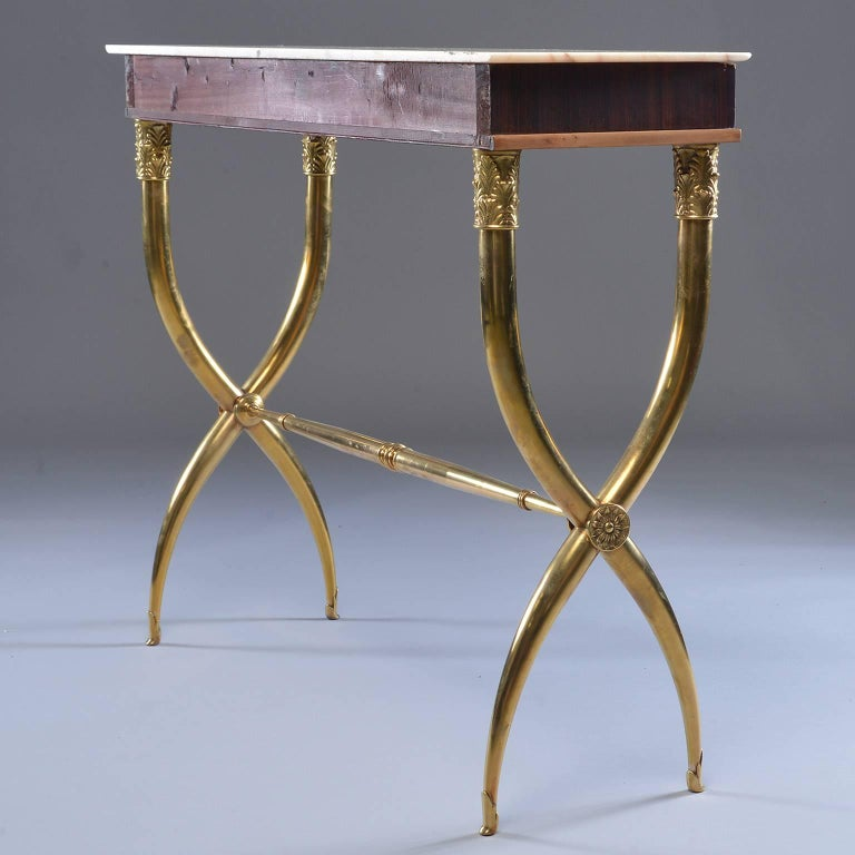 Italian Brass and Marble Neoclassical Style Console For Sale 1