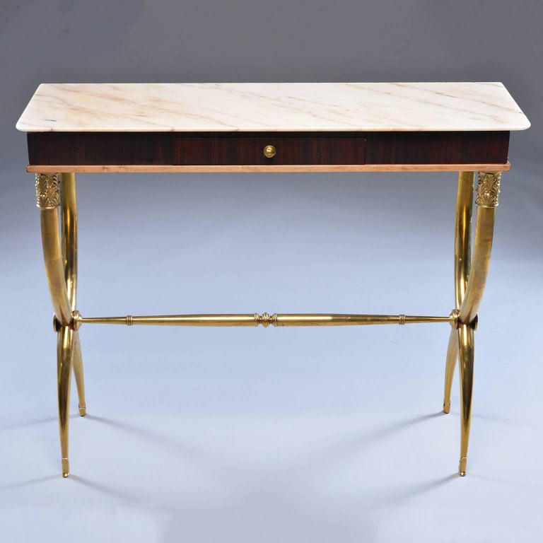 Italian Brass and Marble Neoclassical Style Console For Sale 2