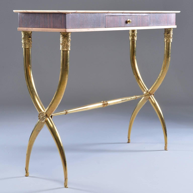 Italian Brass and Marble Neoclassical Style Console For Sale 3