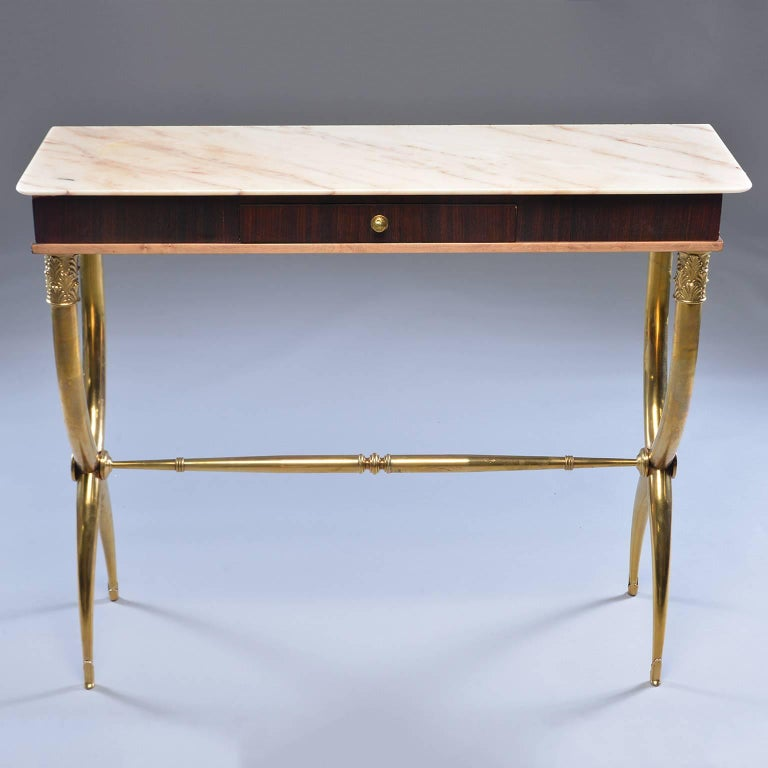 Italian Brass and Marble Neoclassical Style Console For Sale 4