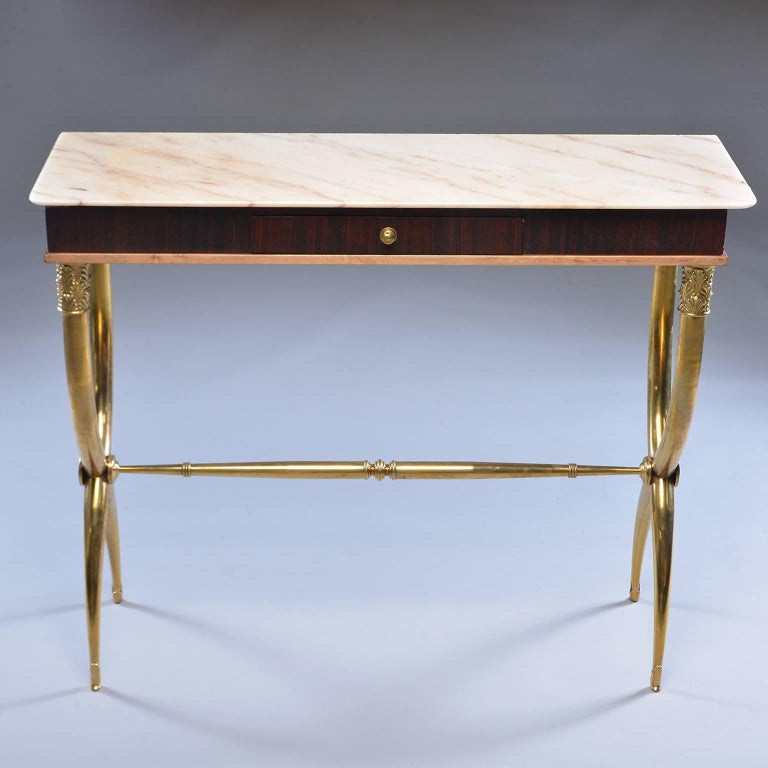 Italian Brass and Marble Neoclassical Style Console For Sale 5