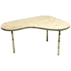 Italian Brass and Marble-Top Boomerang Shaped Coffee Table