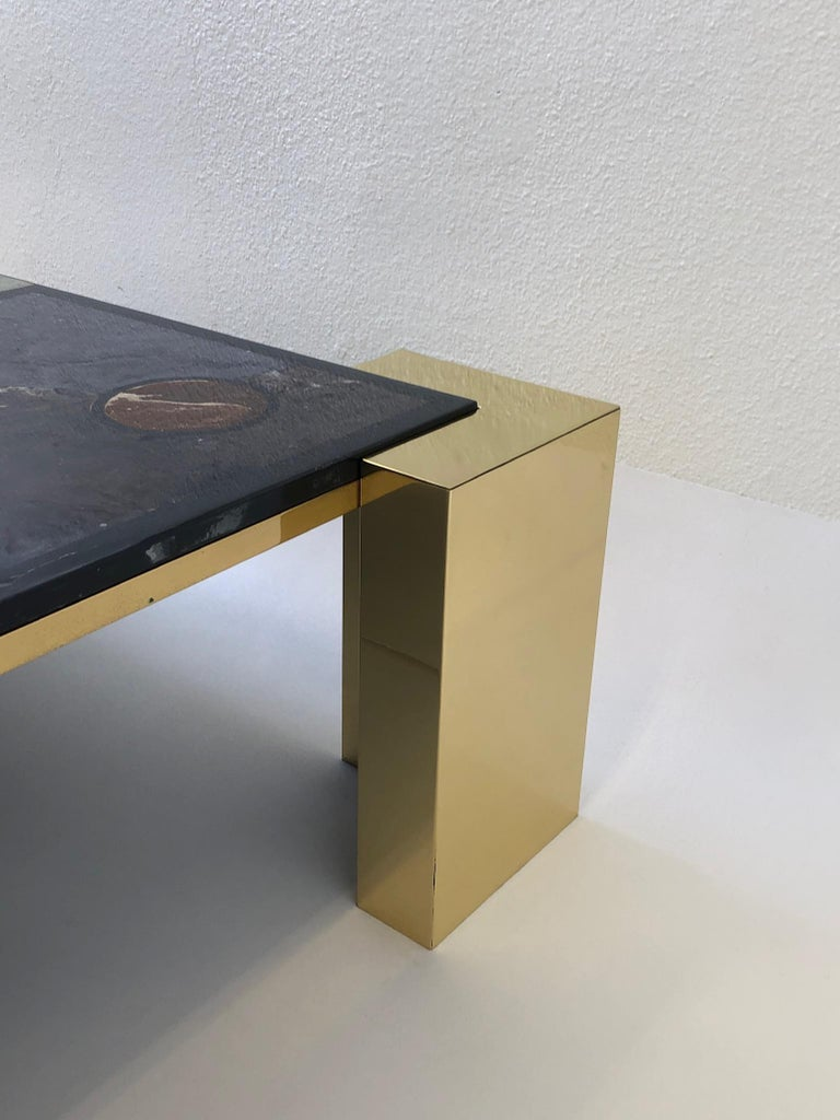 Polished Italian Brass and Marbleized Cocktail Table by Marcello Mioni