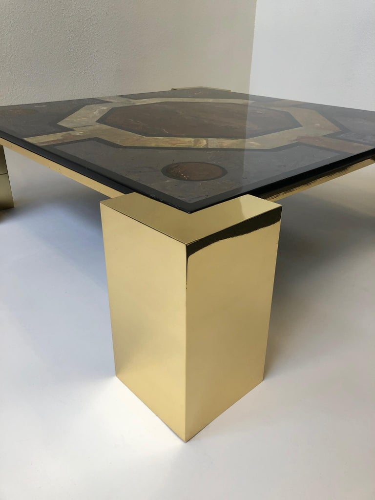 Italian Brass and Marbleized Cocktail Table by Marcello Mioni In Excellent Condition In Palm Springs, CA