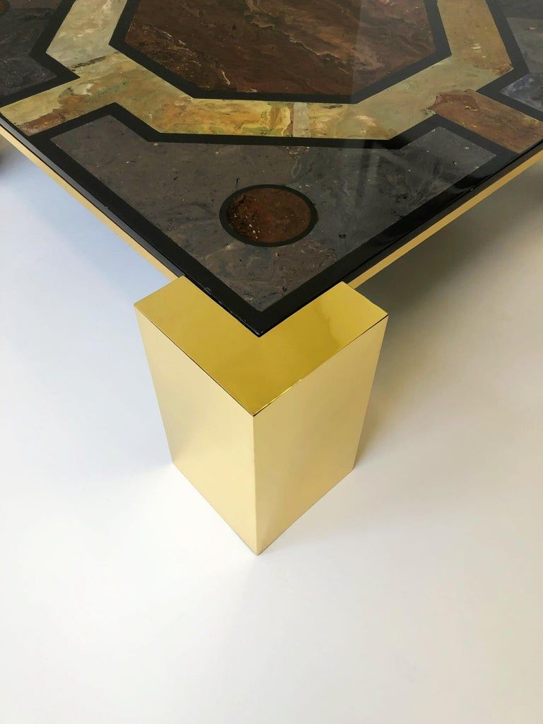 Slate Italian Brass and Marbleized Cocktail Table by Marcello Mioni