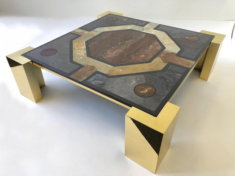 Italian Brass and Marbleized Cocktail Table by Marcello Mioni 1
