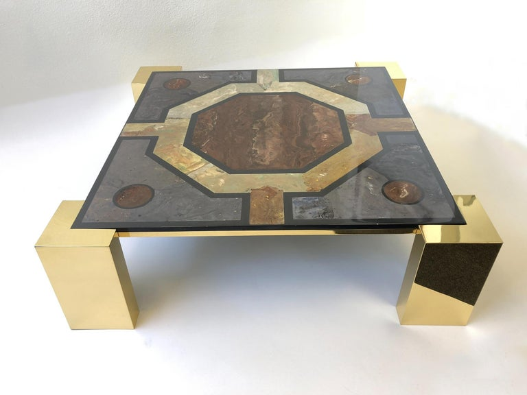 Italian Brass and Marbleized Cocktail Table by Marcello Mioni 2