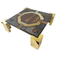 Italian Brass and Marbleized Cocktail Table by Marcello Mioni