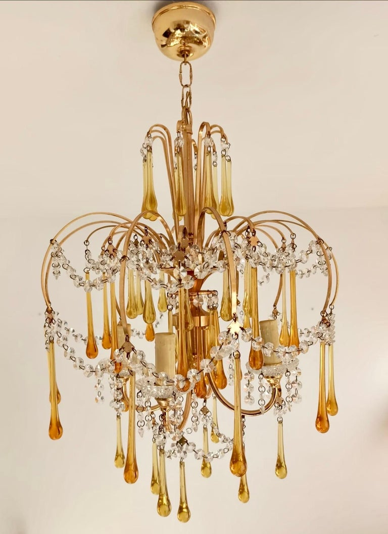 Italian Brass and Murano Amber Glass Tear Drop Chandelier by Paolo Venini, 1960 In Good Condition For Sale In Paris, France