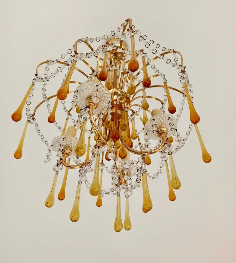 Italian Brass and Murano Amber Glass Tear Drop Chandelier by Paolo Venini, 1960 For Sale 1