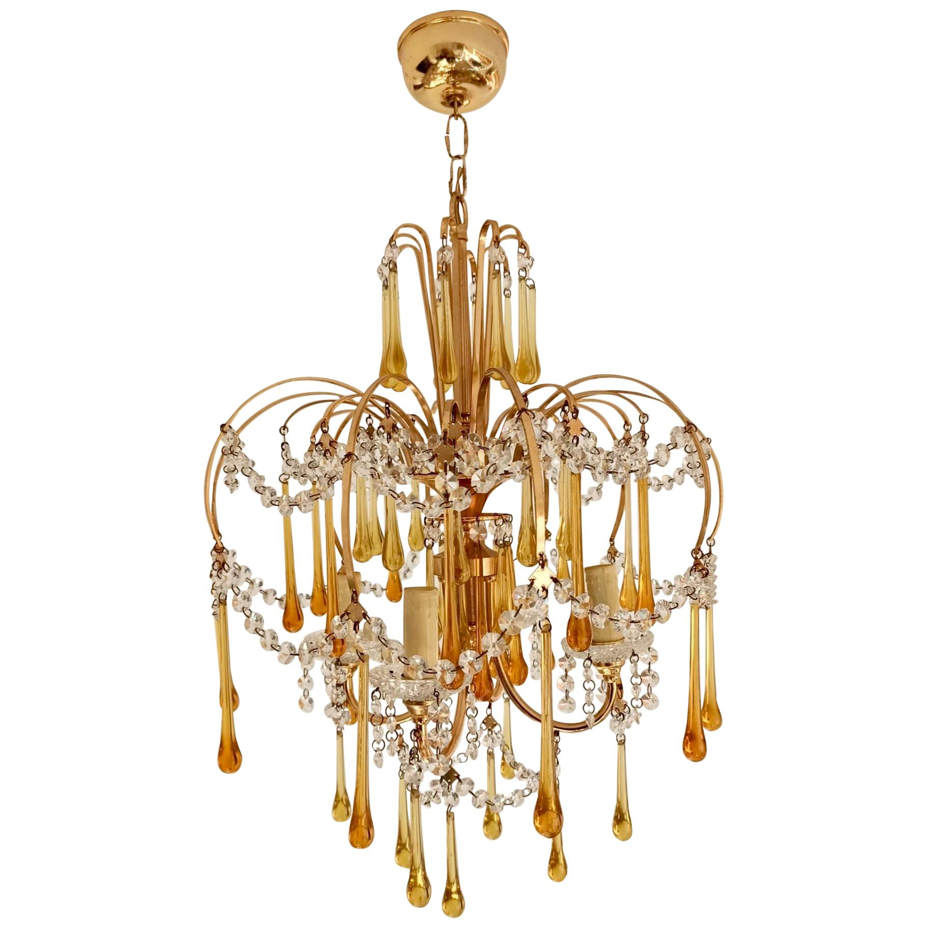 Italian Brass and Murano Amber Glass Tear Drop Chandelier by Paolo Venini, 1960