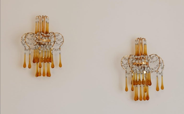 20th Century Italian Brass and Murano Amber Glass Tear Drop Wall Lights by Paolo Venini, 1960 For Sale