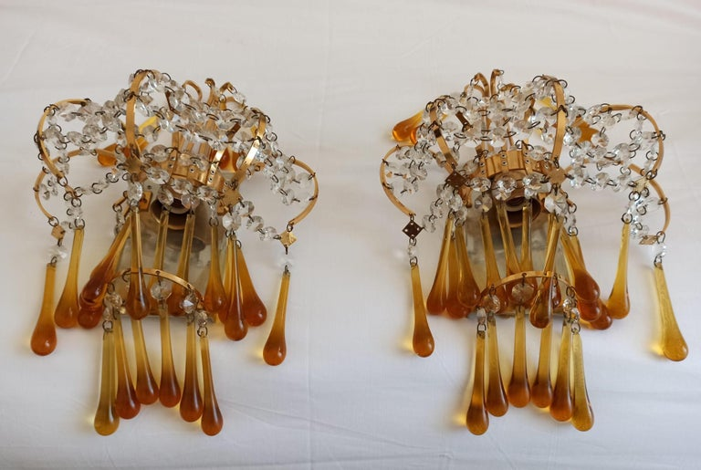 Italian Brass and Murano Amber Glass Tear Drop Wall Lights by Paolo Venini, 1960 For Sale 1
