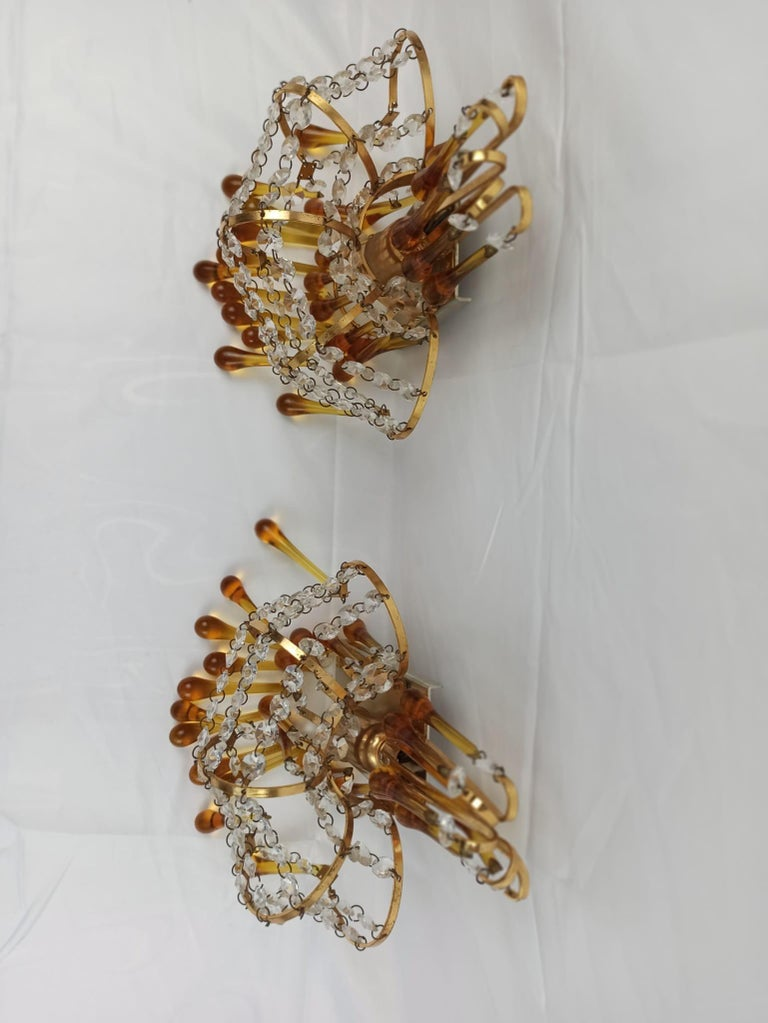 Italian Brass and Murano Amber Glass Tear Drop Wall Lights by Paolo Venini, 1960 For Sale 4