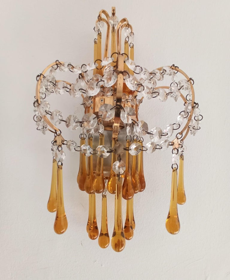 Italian Brass and Murano Amber Glass Tear Drop Wall Lights by Paolo Venini, 1960 For Sale 5