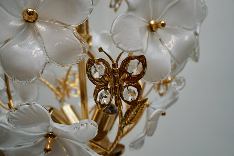 Italian Brass and Murano Glass Flower and Butterfly Chandelier For Sale 5