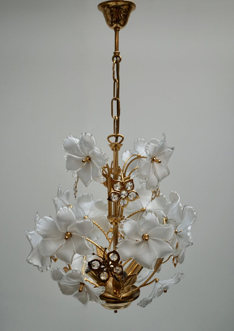 Mid-Century Modern Italian Brass and Murano Glass Flower and Butterfly Chandelier For Sale