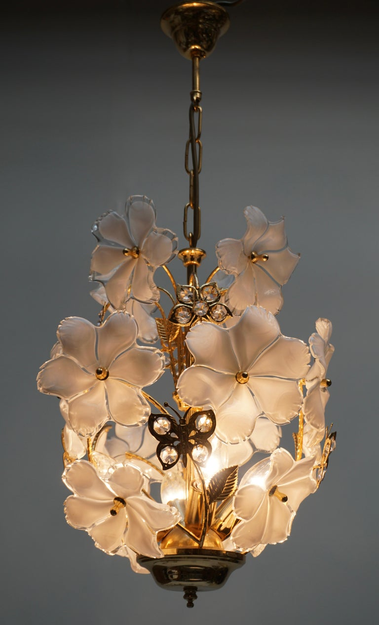 20th Century Italian Brass and Murano Glass Flower and Butterfly Chandelier For Sale
