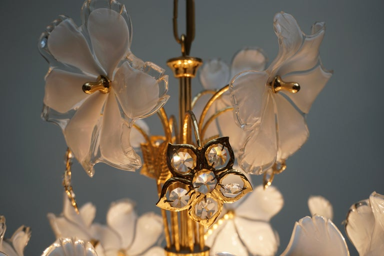 Italian Brass and Murano Glass Flower and Butterfly Chandelier For Sale 1