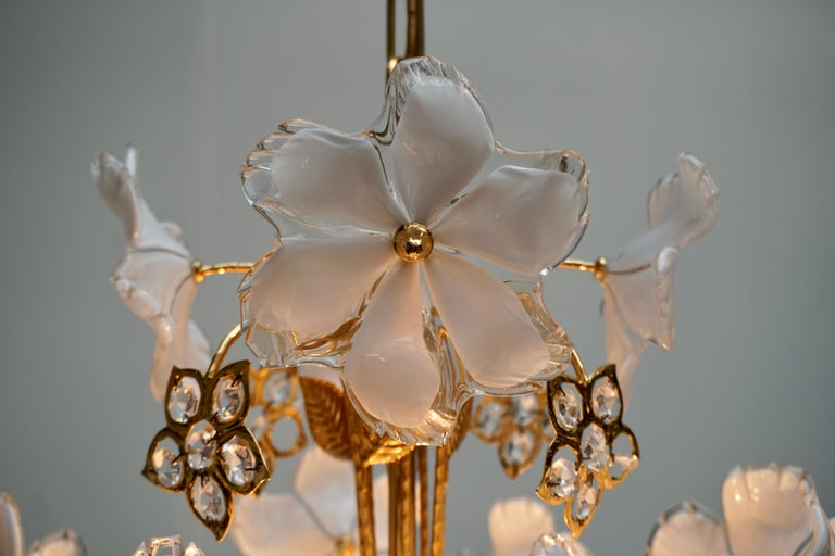 Italian Brass and Murano Glass Flower and Butterfly Chandelier For Sale 2