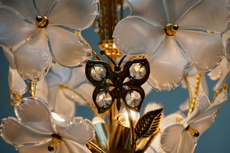 Italian Brass and Murano Glass Flower and Butterfly Chandelier For Sale 3