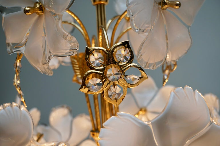 Italian Brass and Murano Glass Flower and Butterfly Chandelier For Sale 4