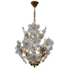 Italian Brass and Murano Glass Flower and Butterfly Chandelier