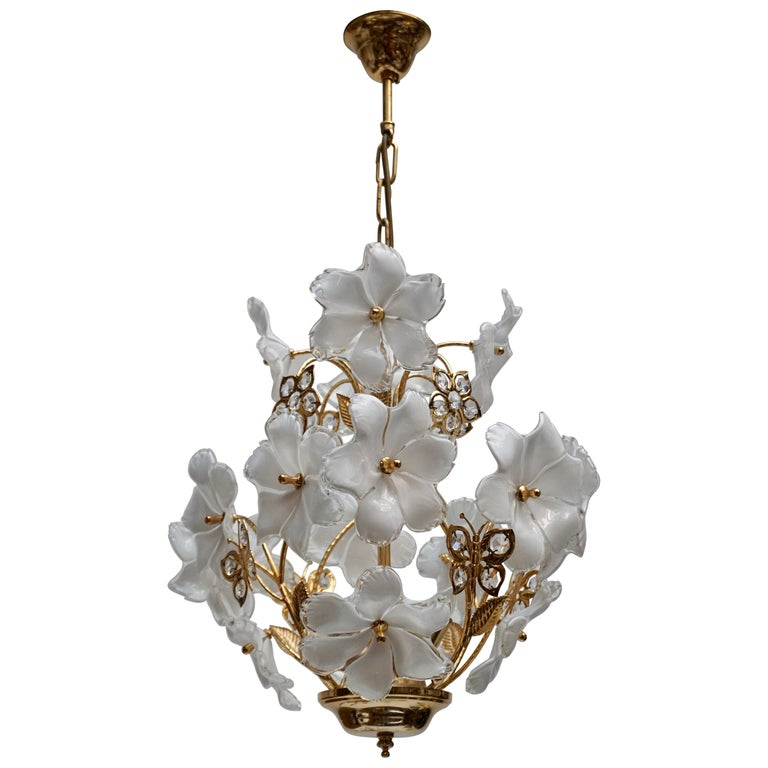 Italian Brass and Murano Glass Flower and Butterfly Chandelier For Sale