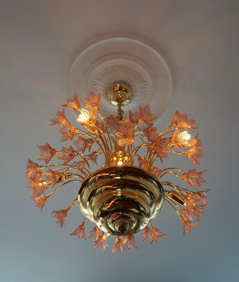 Italian Brass and Murano Glass Flower Chandelier For Sale 5