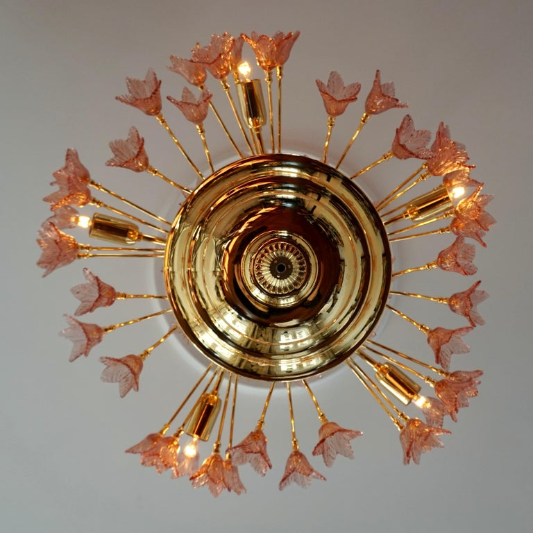 20th Century Italian Brass and Murano Glass Flower Chandelier For Sale