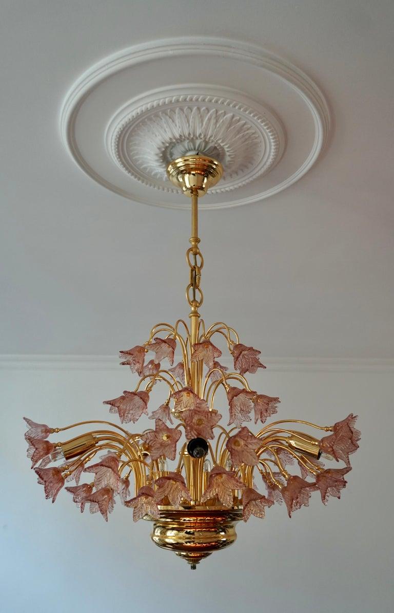 Italian Brass and Murano Glass Flower Chandelier For Sale 1