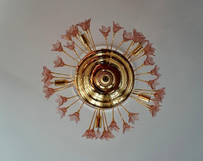 Italian Brass and Murano Glass Flower Chandelier For Sale 2