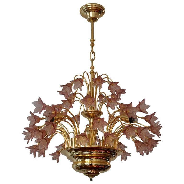Italian Brass and Murano Glass Flower Chandelier For Sale