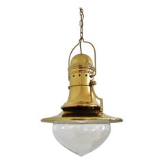 Italian Brass and Murano Glass Pendant Lamp or Lantern in Nautical Style, 1970s