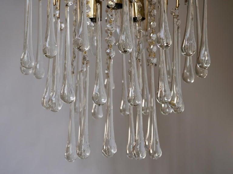 20th Century Italian Brass and Murano Glass Teardrop Chandelier For Sale