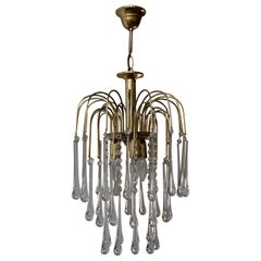 Italian Brass and Murano Glass Teardrop Chandelier