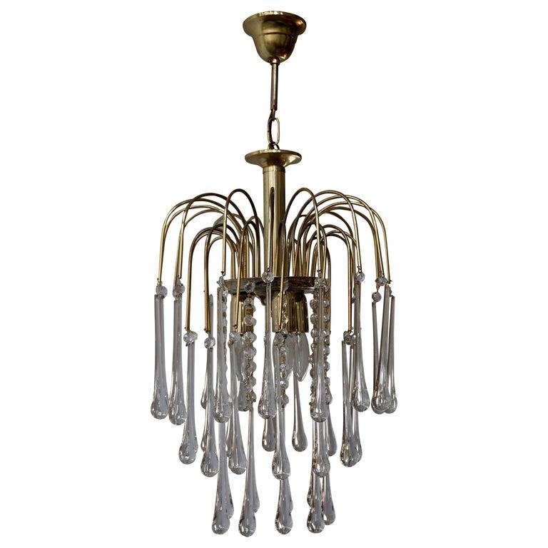 Italian Brass and Murano Glass Teardrop Chandelier For Sale