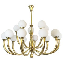Italian Brass and Opaline Chandelier
