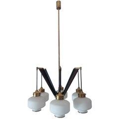 Italian Brass and Opaline Glass Chandalier from Arredoluce Monza, 1950s