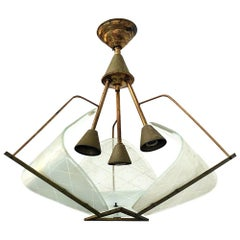 Italian Brass and Opaline Glass, Three Lights Structure Ceiling Lamp, 1950s