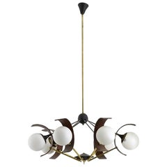 Italian Brass and Painted Aluminum Pendant Lamp with Six Light-Arms