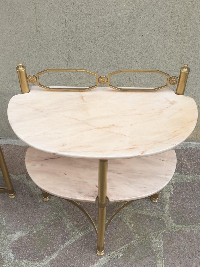 Mid-Century Modern Italian Brass and Pink Portuguese marble Demi-Lune Side Tables  For Sale