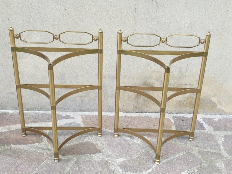Italian Brass and Pink Portuguese marble Demi-Lune Side Tables  In Good Condition For Sale In Los Angeles, CA