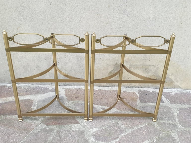 Mid-20th Century Italian Brass and Pink Portuguese marble Demi-Lune Side Tables  For Sale