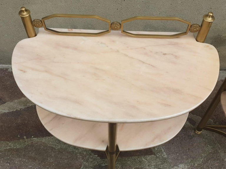 Italian Brass and Pink Portuguese marble Demi-Lune Side Tables  For Sale 1