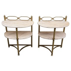 Italian Brass and Pink Portuguese Marble Demi-Lune Side Tables