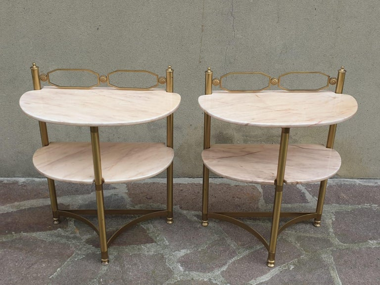 Italian Brass and Pink Portuguese marble Demi-Lune Side Tables  For Sale