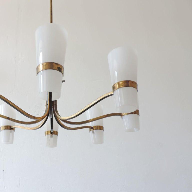 Italian brass, burnished brass and plexiglass 1950s ceiling lamp.