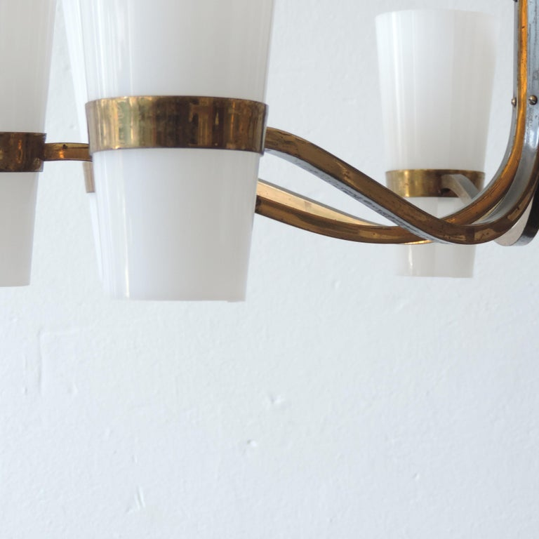 Burnished Italian Brass and Plexiglass 1950s Ceiling Lamp For Sale